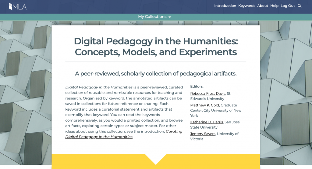 Digital Pedagogy in the Humanities homepage