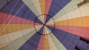 a colorful closeup of a hot air balloon