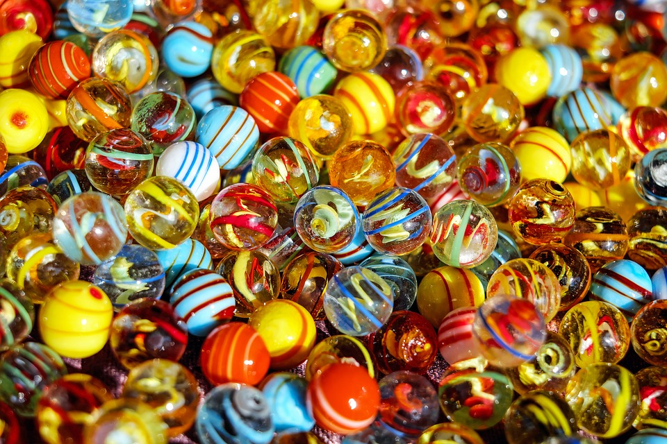 many multicolored marbles