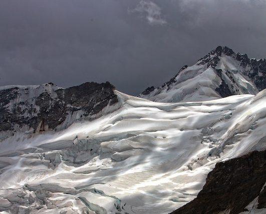 A snowy mountainside.