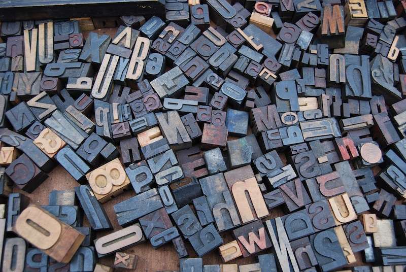 assorted letters for a letter press