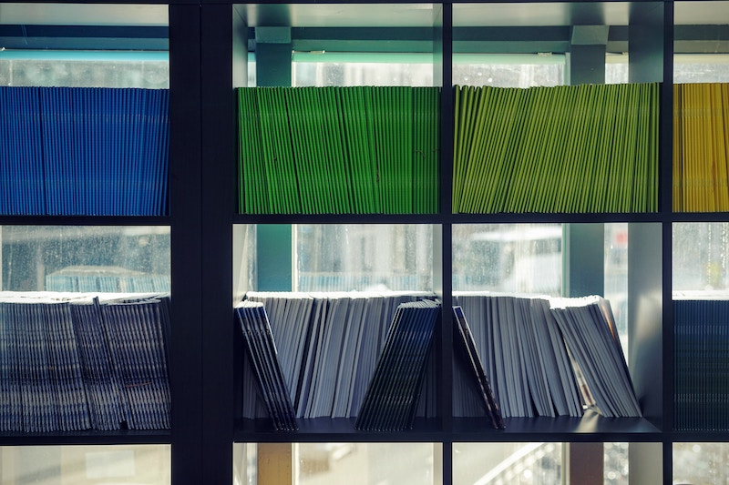 bookshelves filled with slim volumes