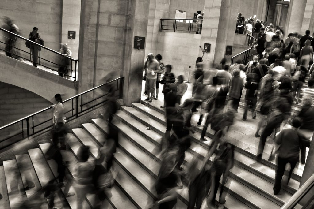 people on stairs at Grand Central Station