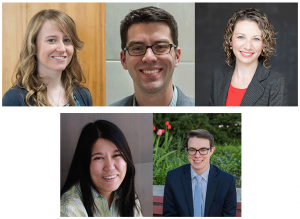 Members of the Composers of Color Resource Project. From top right: Amy Fleming, Aaron Grant, Megan Long, Jan Miyake, and Sam Reenan.