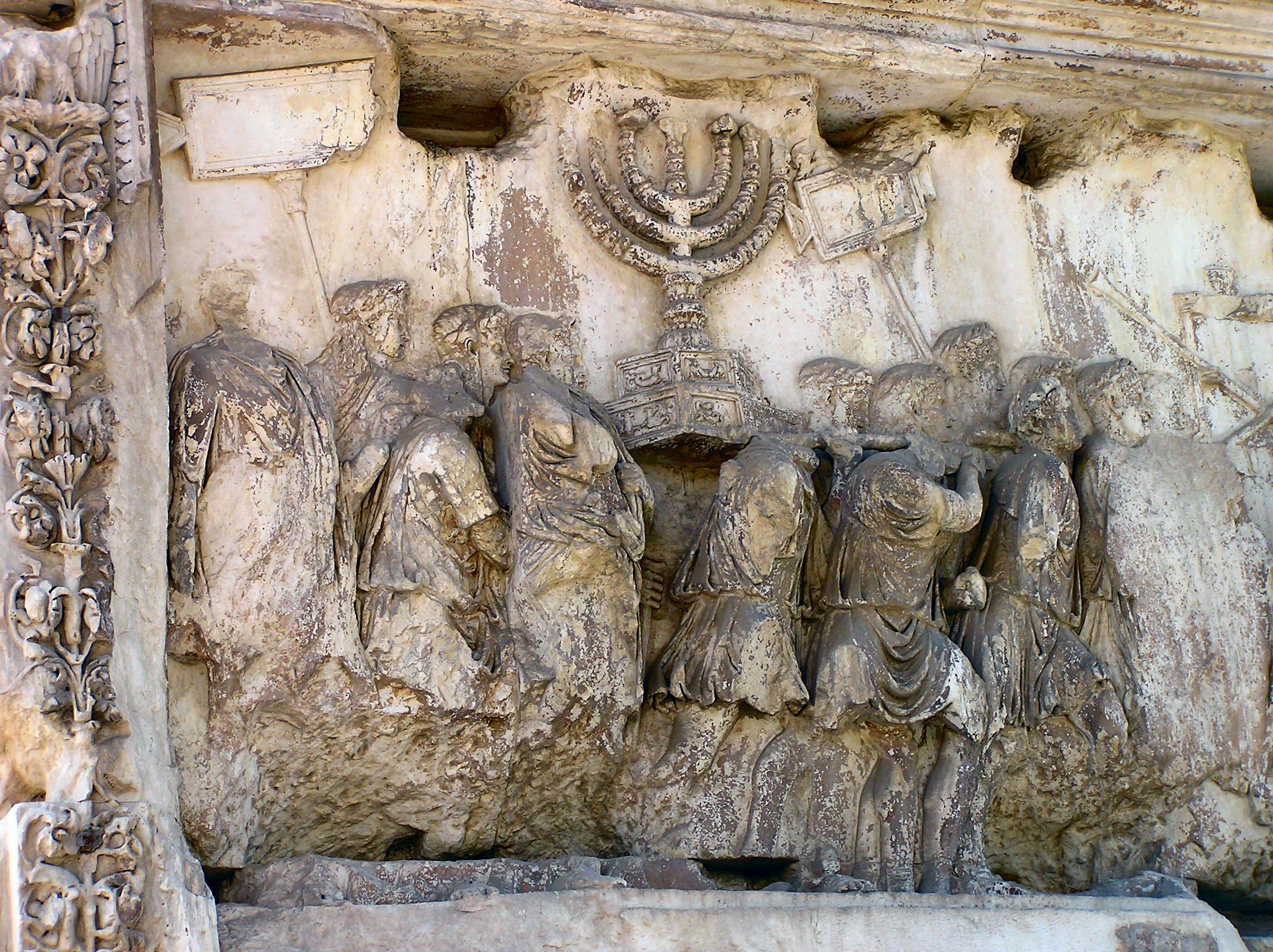 Arch of Titus, Rome, Triumphal parade, menorah from the temple in Jerusalem