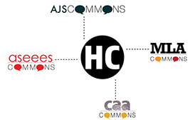 Logo for Humanities Commons with AJS Commons, ASEEES Commons, CAA Commons, and MLA Commons logos each connected with dotted lines.