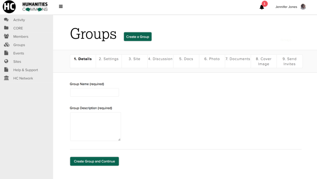 Screenshot of the Group creation page.