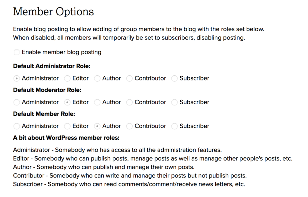 A screenshot of the member options menu.