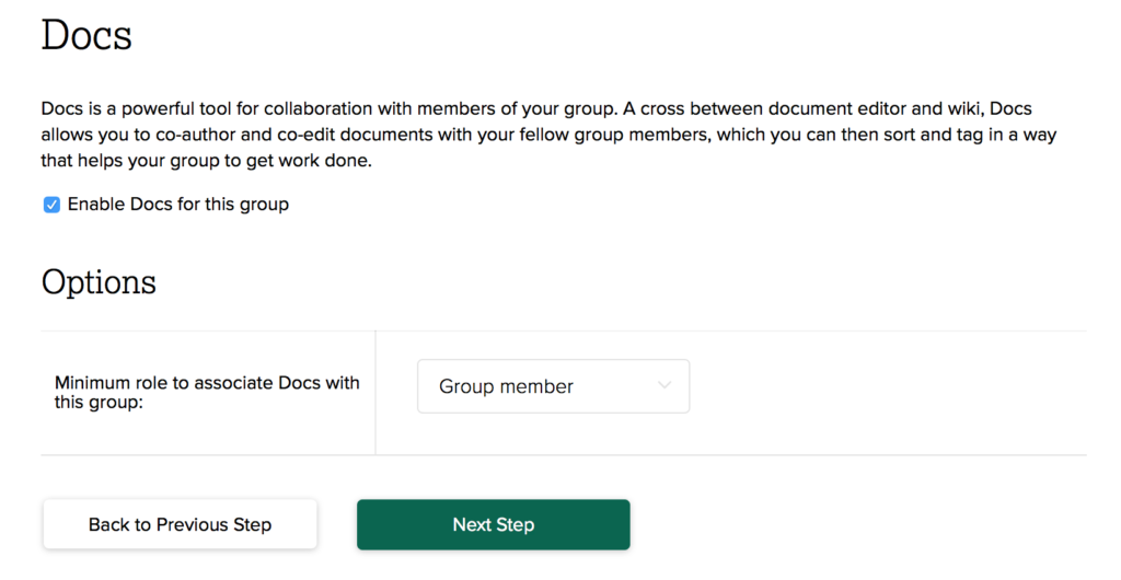 Screenshot of the screen to enable Docs for a group