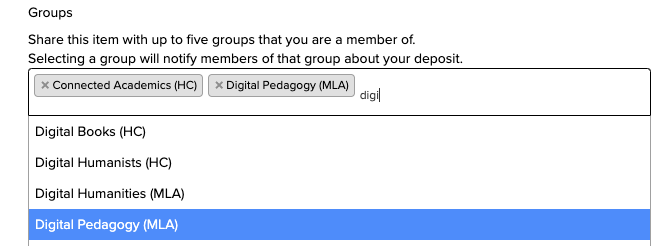 screenshot of CORE field to enter names of groups
