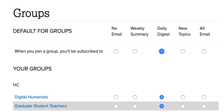 screenshot of email settings page