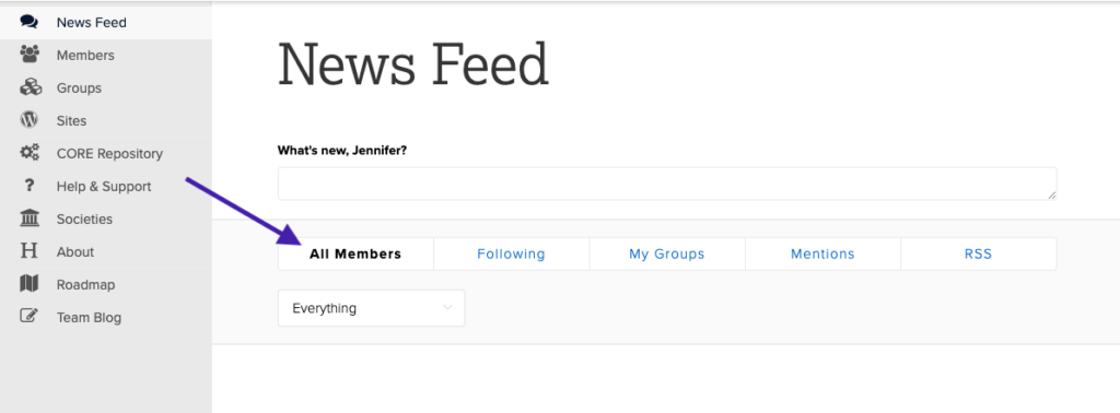 screenshot with arrow pointing out horizontal filters for following, my groups, et cetera.