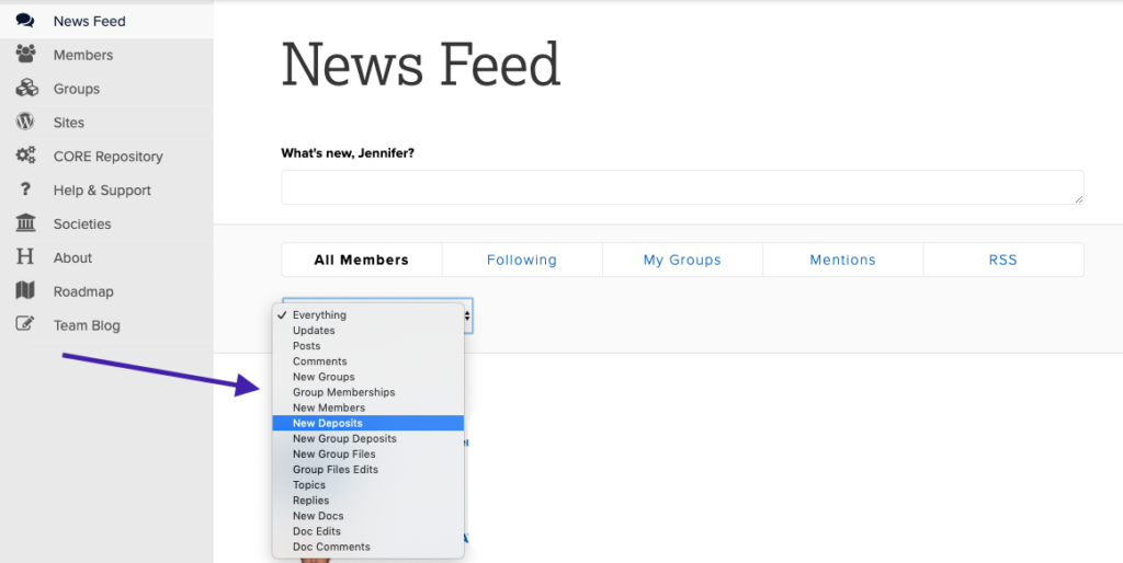 screenshot of news feed page with drop down filters for types of activity.