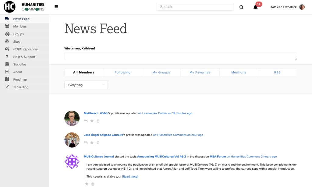 Screenshot of News Feed