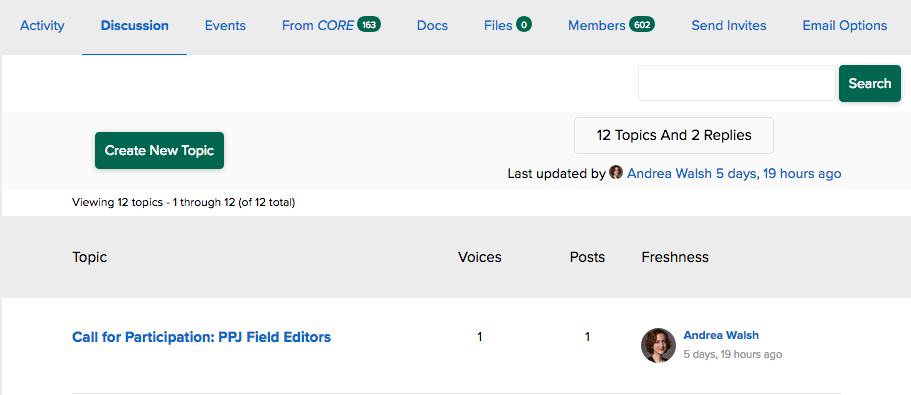 "screenshot of a discussion forum, with a ""create new topic"" button, search field, and recent posts."