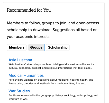 screenshot of recommendation widget with sections of members, groups, and scholarship.