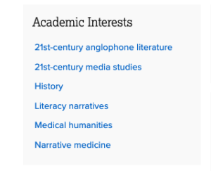 screenshot of academic interests listed in a profile.