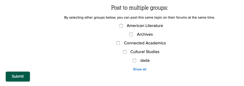 screenshot of the options to post to multiple groups