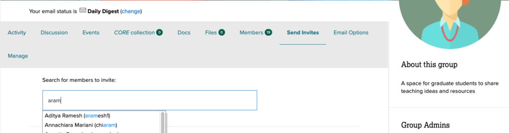 screenshot showing the typeahead field to select a user to invite to the group