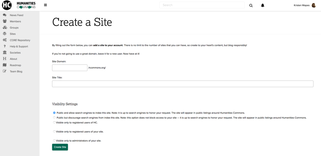 "Screenshot of ""Create a site"" page showing titling and privacy options"