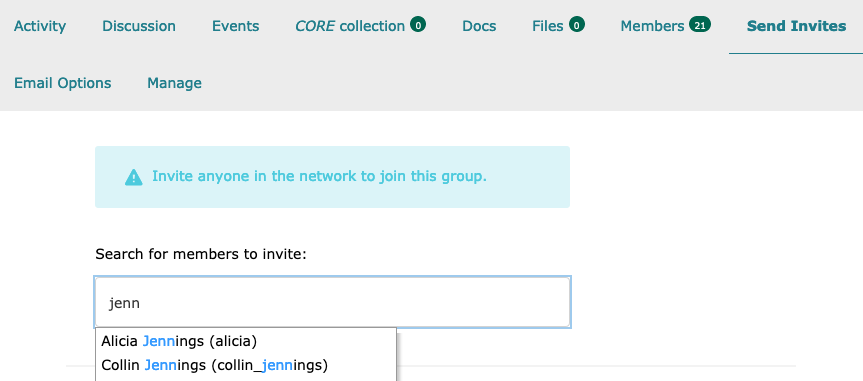 Screenshot of screen to invite members of the network to the group