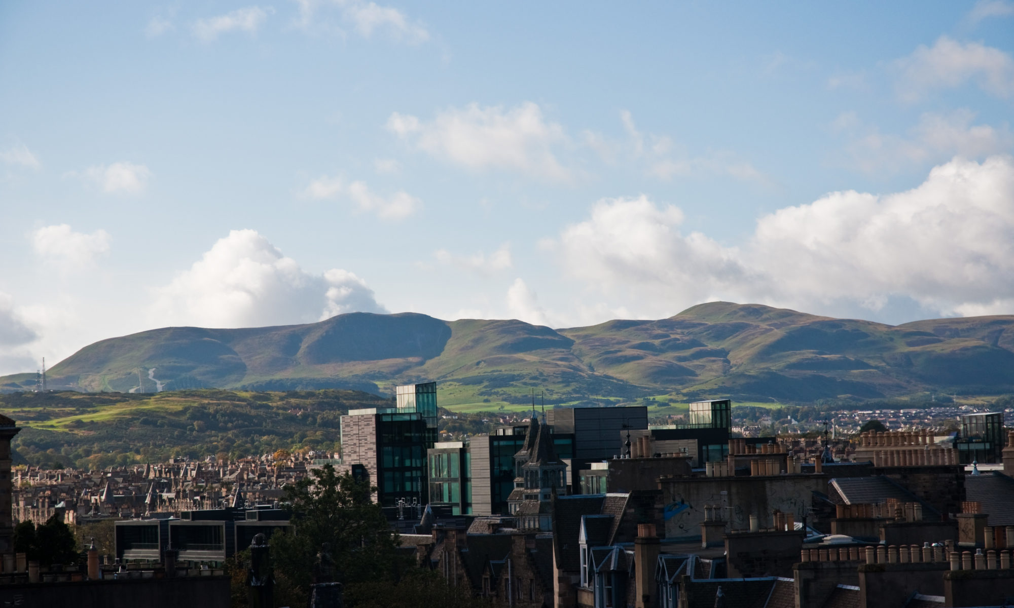Edinburgh cityscape with the Pentland Hills in the background