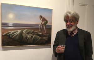 "Anthony Apesos in front of ""Dedalus and Icarus"""