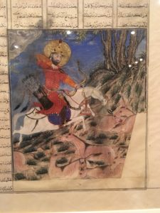 Watercolor of a king riding a horse, hunting herd animals