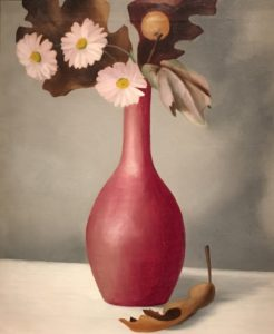 Oil painting of vase with pink flowers