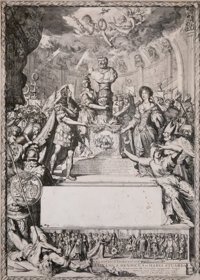 """""""Marriage of William and Mary,"""" a 1677 etching by Romeyn de Hooghe. KAM curator Maureen Warren called de Hooghe a """"propaganda master."""" She said de Hooghe invented a new kind of political satire in which stories and characters were thinly disguised, so viewers knew who was being satirized. Eighteenth-century English printmaker William Hogarth, who is best known for this type of satire, was inspired by de Hooghe's work, Warren said. This print and the others pictured here were purchased through the John N. Chester Fund. Photo by L. Brian Stauffer"""