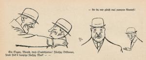 """""""C.H.,"""" """"Stabilization."""" Fliegende Blätter 7 Mar. 1924, p. 80."""