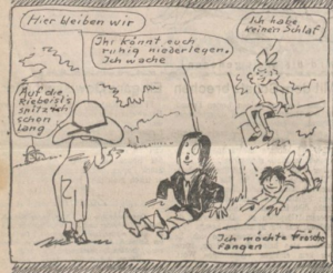 """""""The Riebeisels make an excursion to the Prater meadows."""" Der Götz von Berlichingen 24/7/1925, p. 4, detail."""