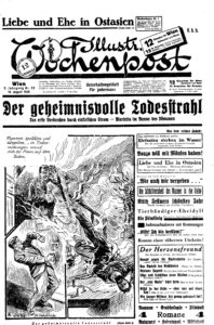 "Illustrierte Wochenpost 16 Aug. 1929, p. 1. ""The Secret Death Ray."""
