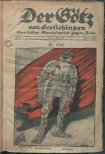 Der Götz von Berlichingen, 10 Apr. 1919, front page,