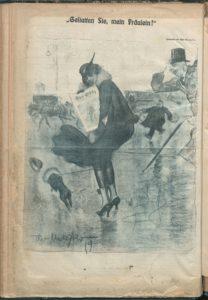 """Theo Matejko, """"Allow me, Mademoiselle!"""" Der Götz von Berlichingen 24 Apr. 1919, p. 10."""