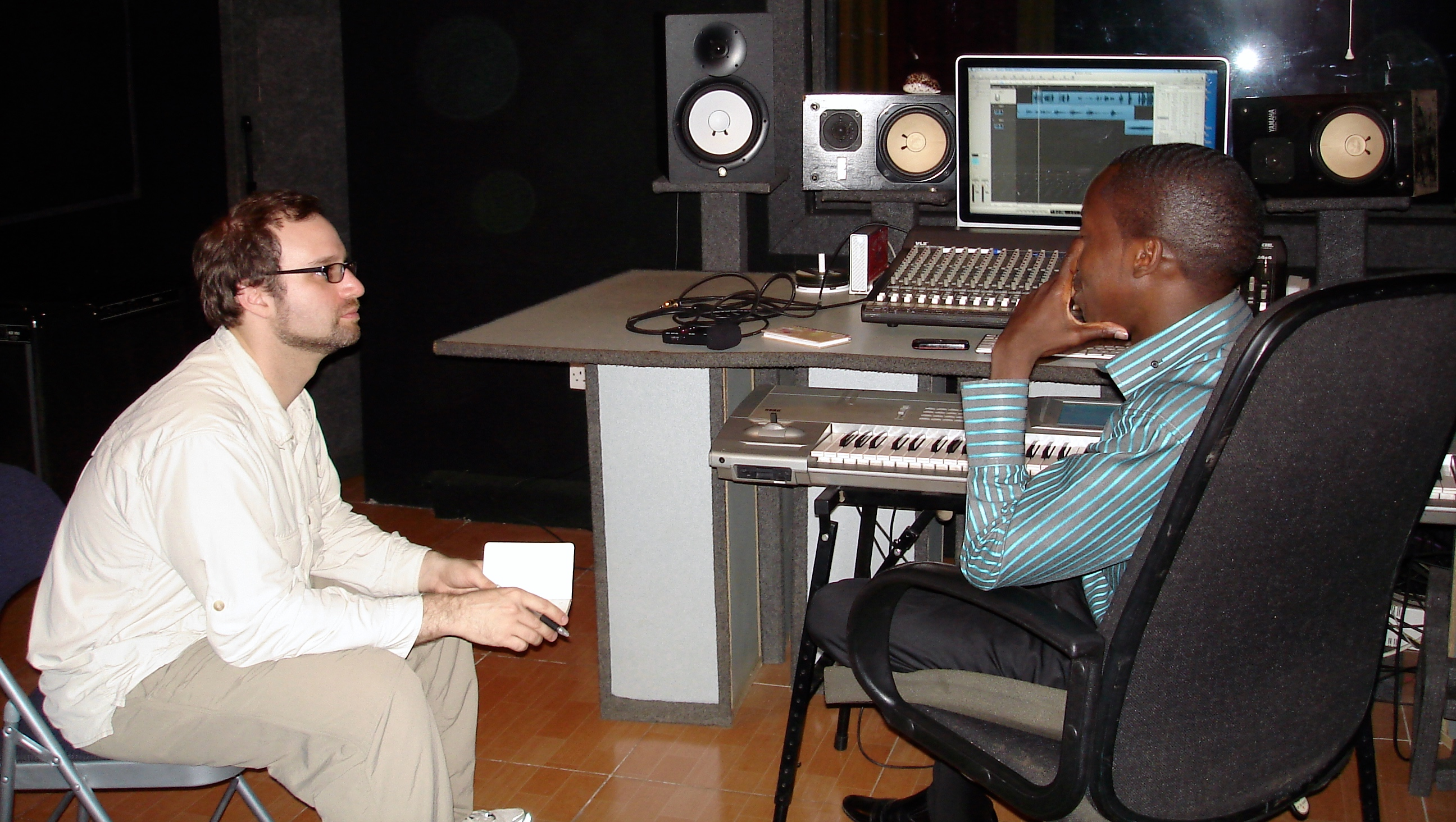 Conducting studio interview in Nairobi 2010