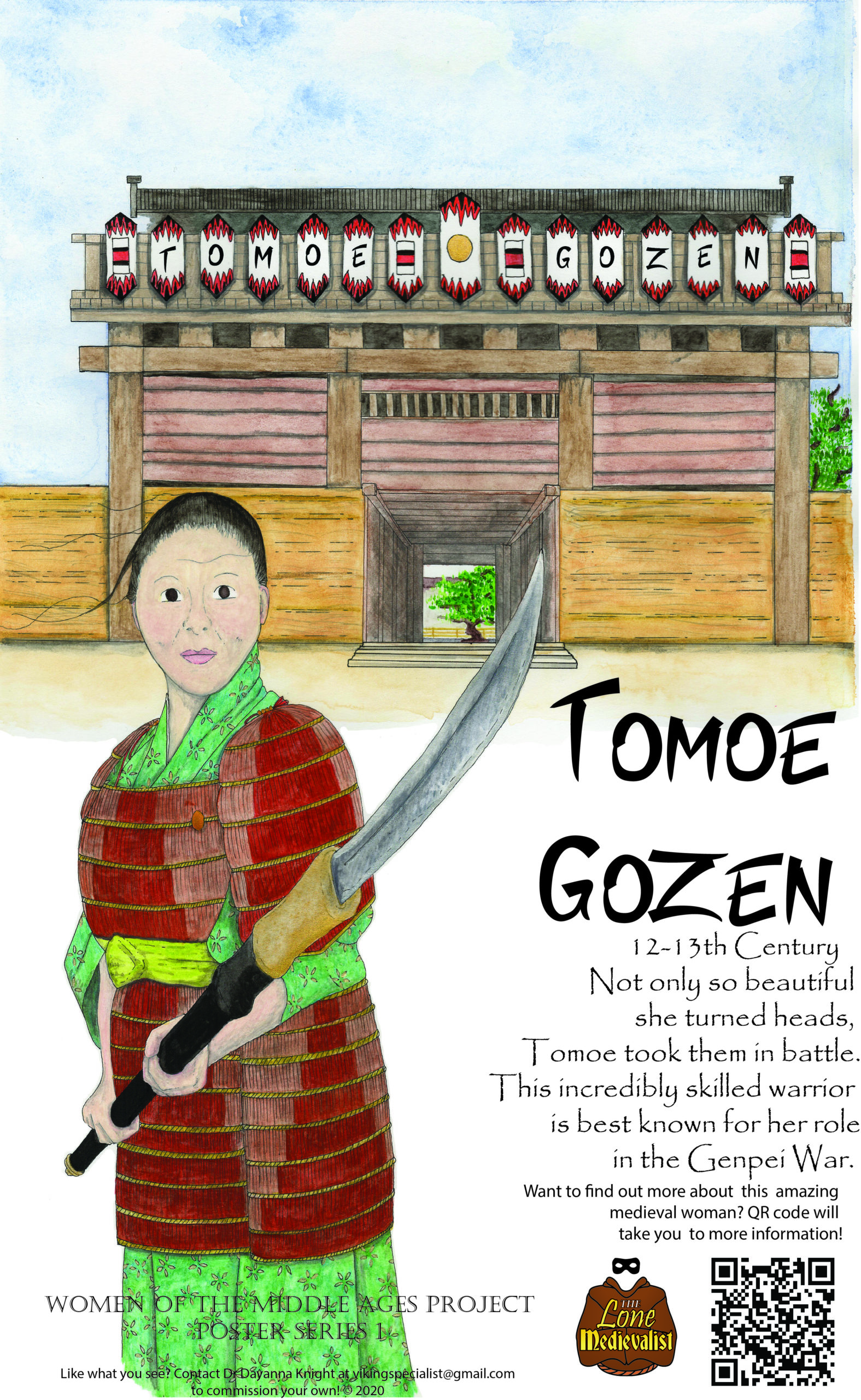 Poster with information about Tomoe Gozen