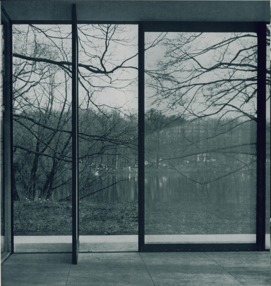 Farnsworth House porch with pivot door
