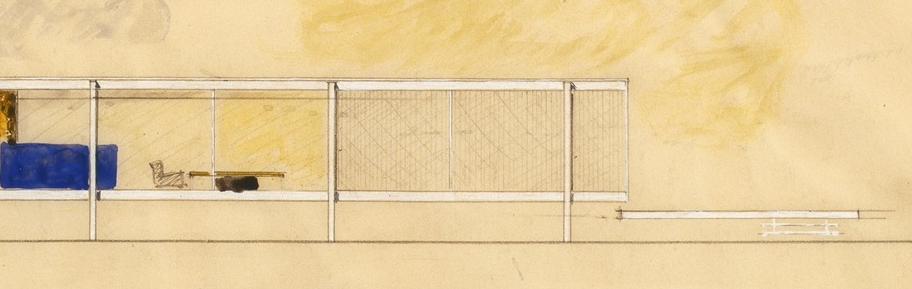 Detail of Farnsworth House watercolor elevation