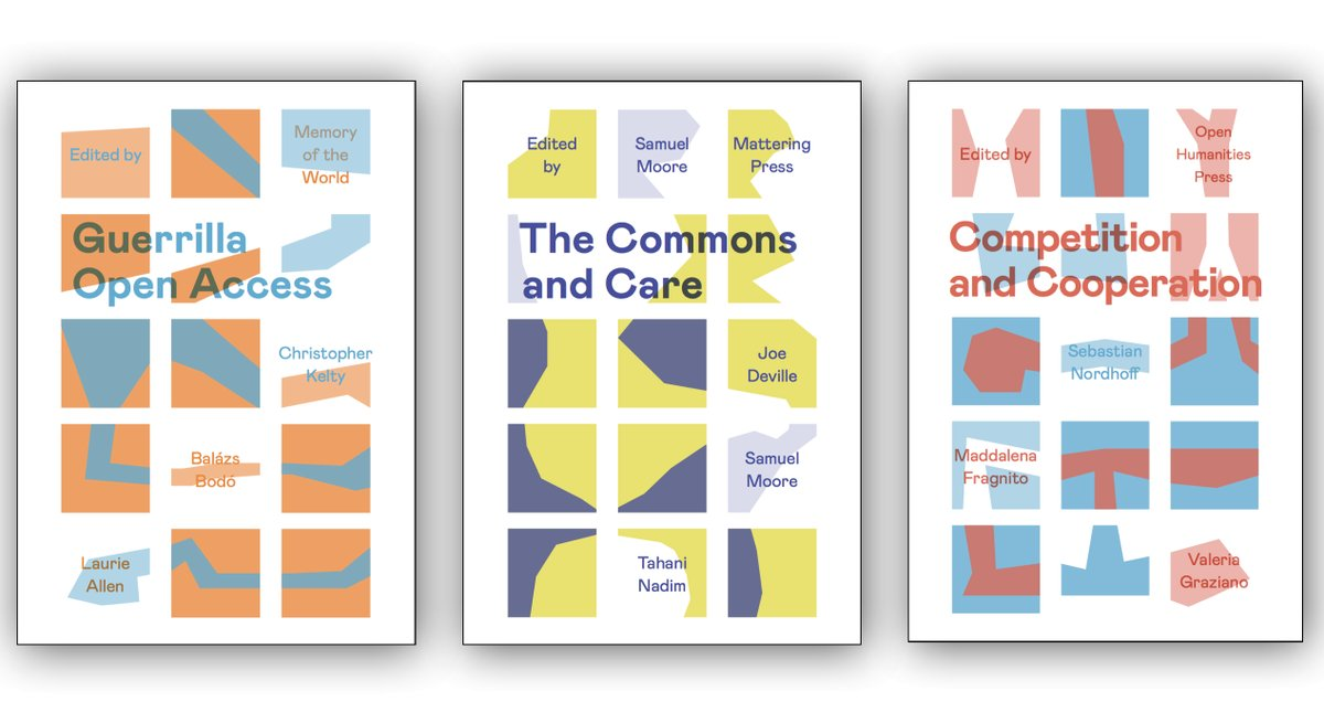 three covers of the Radical OA pamphlets designed by Mihai Toma, Sean Worley and Nick White.