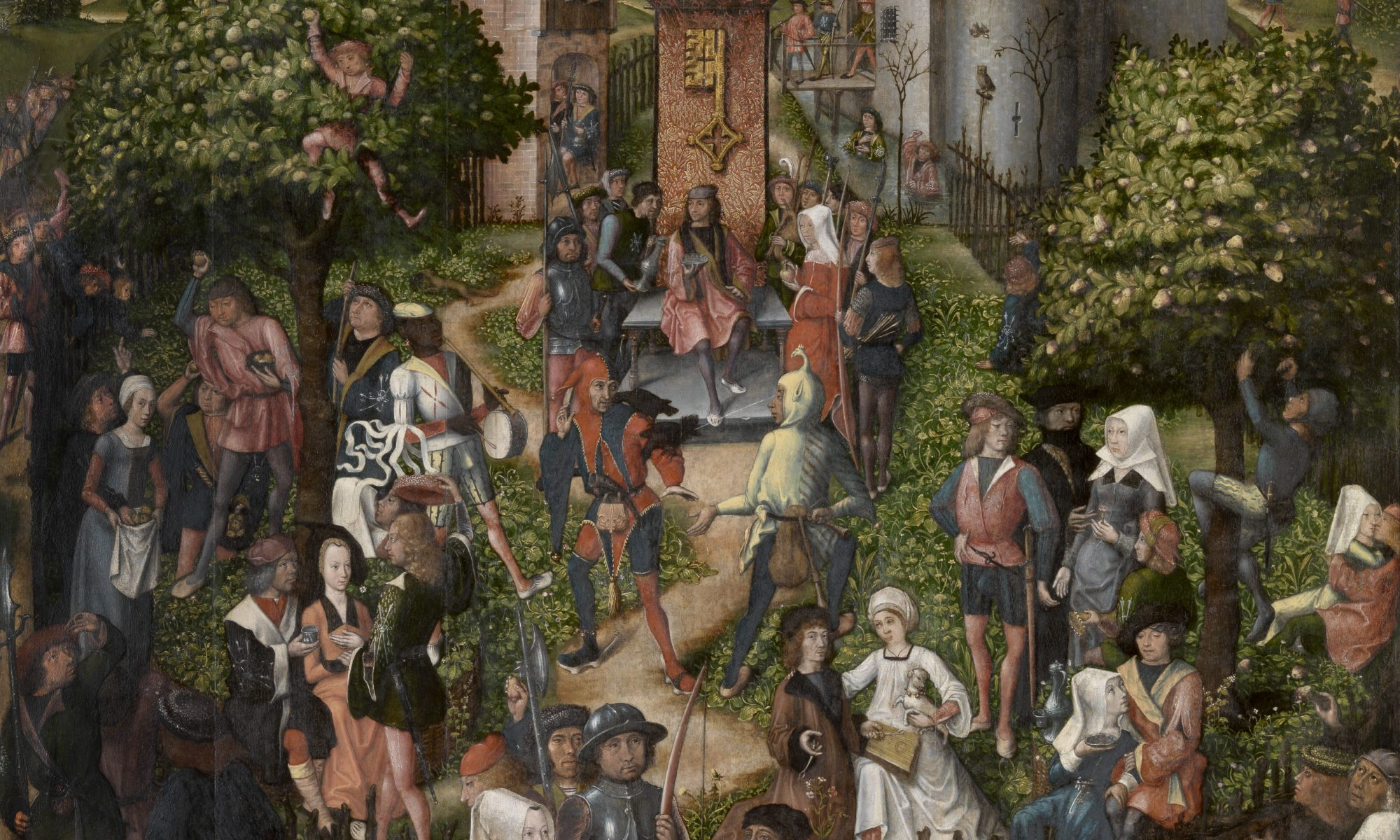Painting by Master of Frankfurt, Festival of the Archers, 1493. An outdoor festival scene.