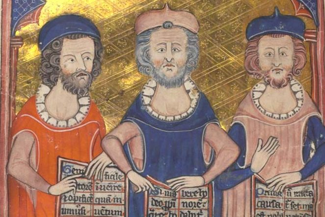 Plato, Seneca, and Aristotle in an illustration from a medieval manuscript, Devotional and Philosophical Writings.