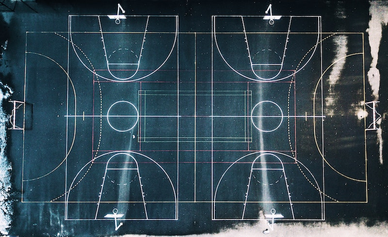 aerial view of a basketball court