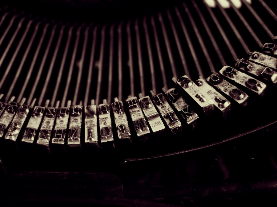 close up of typewriter letters