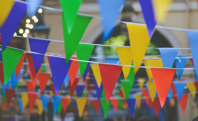 Brightly colored bunting