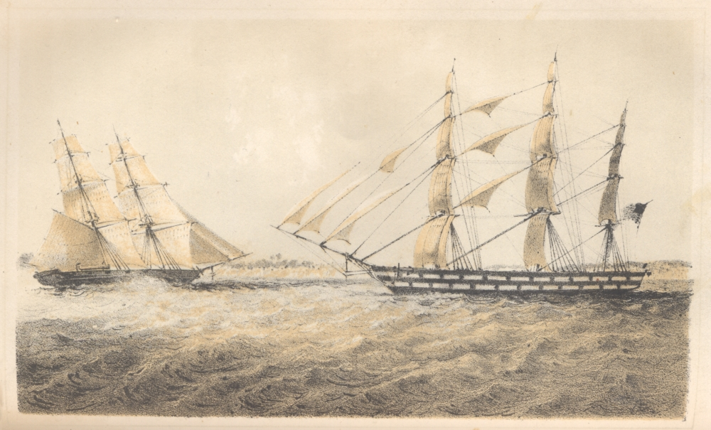 Engraving of a large clipper ship approaching a smaller one.