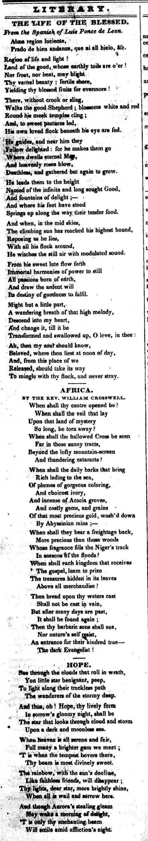 "1831-06-25 Poem  ""Africa"" (The Liberator) – American"