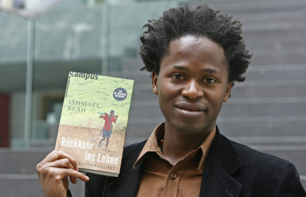 Ishmael Beah promotes the German translation of his memoir. Image from New African Magazine: http://newafricanmagazine.com/sierra-leone-radiance-of-tomorrow/