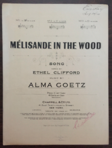 "Cover page of sheet music for ""Melisande in the Woods"""