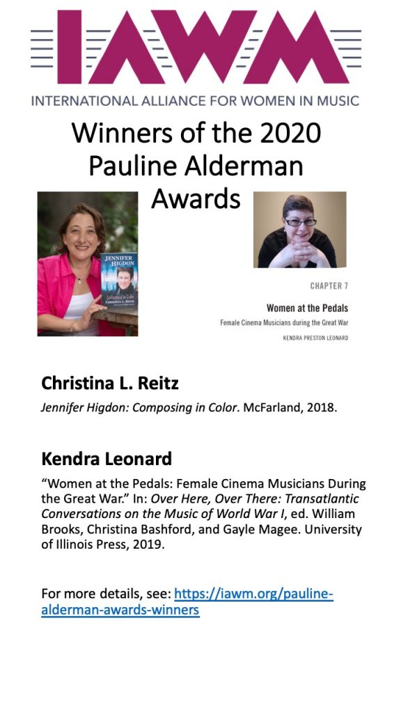 posted showing the images of two women and announcing the winners of the Pauline Alderman Award